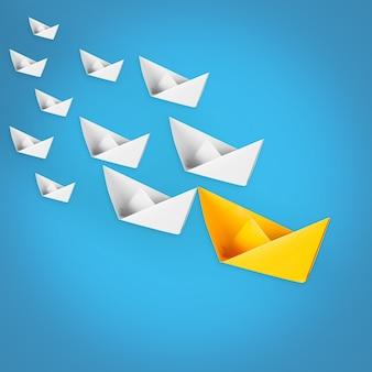 Leiderschapsconcept met leidende papieren boot