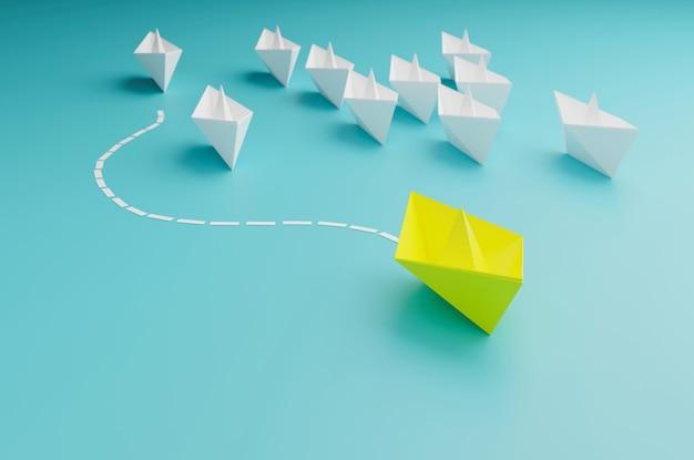 Leidersschipconcept, gele bootwinst en succes, zakelijk succesconcept, 3d-illustratieweergave