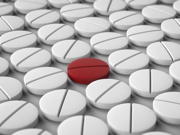 Leidingsconcept met rode tablet onder witte tabletten