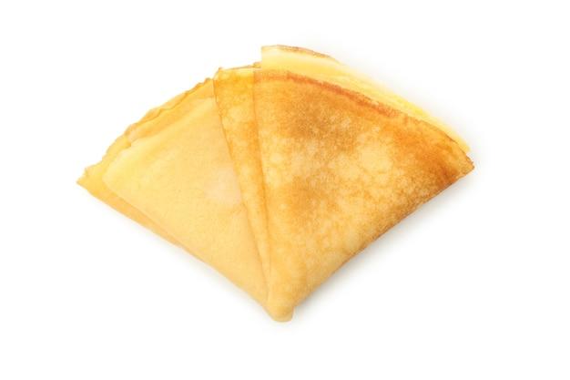 Lekkere dunne pannenkoeken geïsoleerd op een witte achtergrond