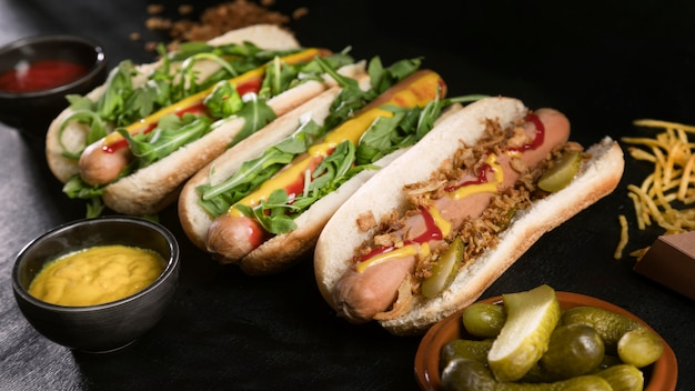 Lekkere fast-food hotdog hoog uitzicht