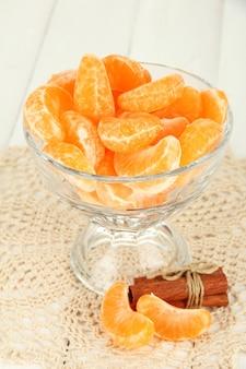 Lekkere schijfjes mandarijn in glazen kom