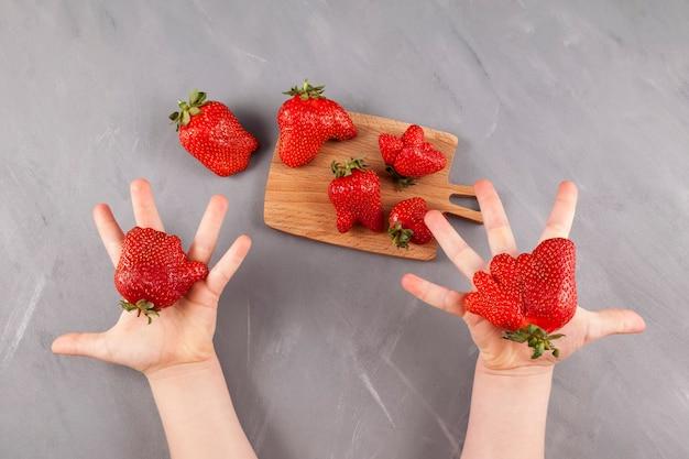 Lelijk fruit. kinderhanden bieden rijpe grappige aardbeien met een ongewone vorm.