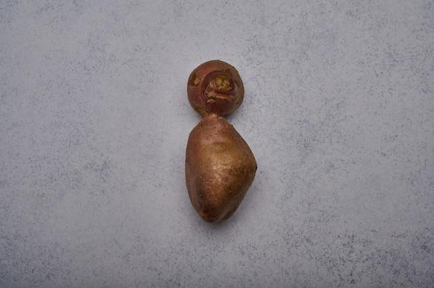 Lelijke aardappel in de vorm van een persoon op een grijze achtergrond, grappig ongewoon groente- of voedselverspillingsconcept