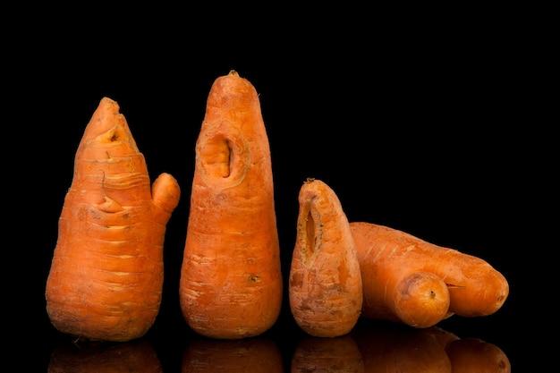Lelijke wortelen met scheuren en knobbeltjes misvormde produceren voedselverspilling probleemconcept