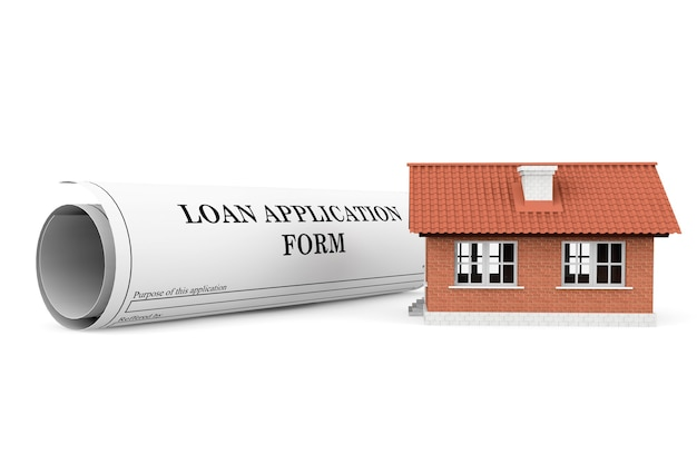 Leningaanvraagformulier met huis op een witte achtergrond