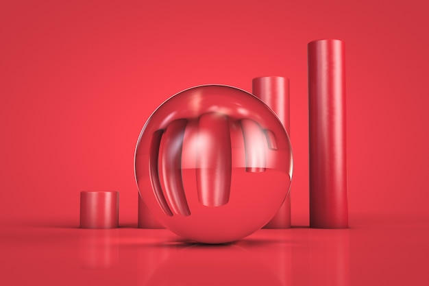 Lens voor een groeiende grafiek. informatie vervorming concept.