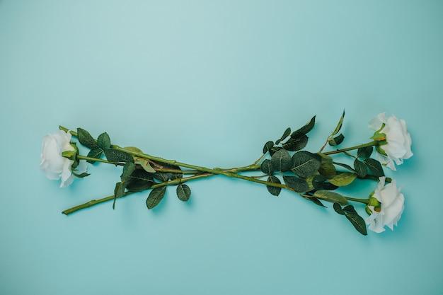 Lente frisheid. witte rozen met groene bladeren. mooie witte rozen met lange steel.
