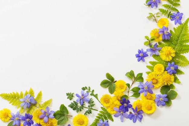 Lente gele en paarse bloemen op papier