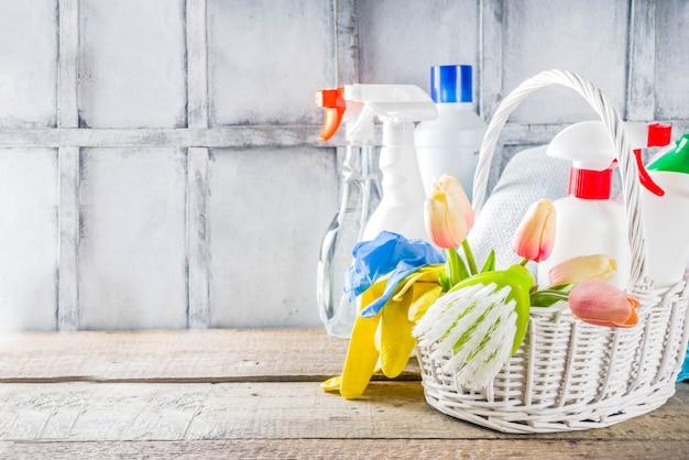 Lente huis schoonmaken en huishouden achtergrond