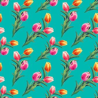 Lente naadloze patroon met gele, rode, roze tulpen. de bloemen op smaragdgroene achtergrond.