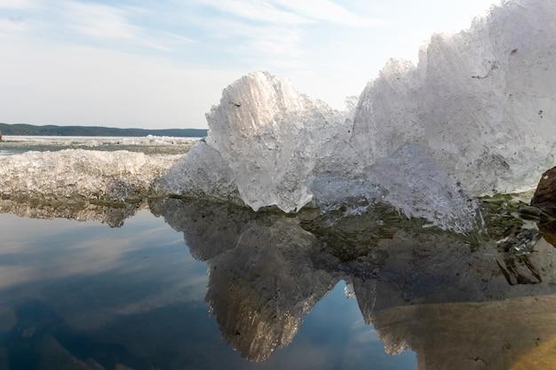 Lente smelten van ijs in het meer, weerspiegeling van ijs in het water, pre-zonsondergang tijd, behang, ansichtkaart, achtergrond.