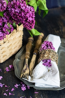 Lente tijd interieur met lila