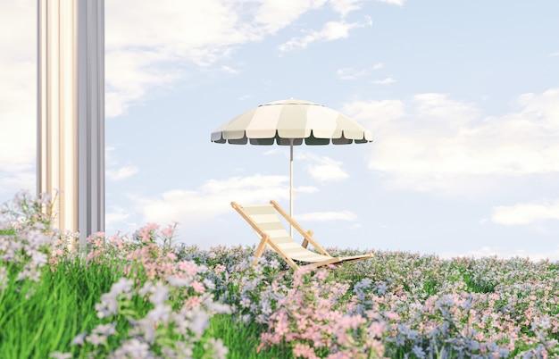 Lentebloem veldscène met strandstoel en parasol