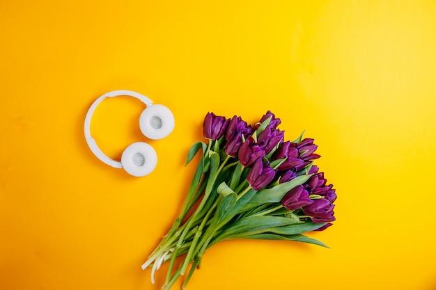 Lentebloemen, bos van paarse tulpen op oranje achtergrond, witte draadloze koptelefoon op oranje achtergrond.