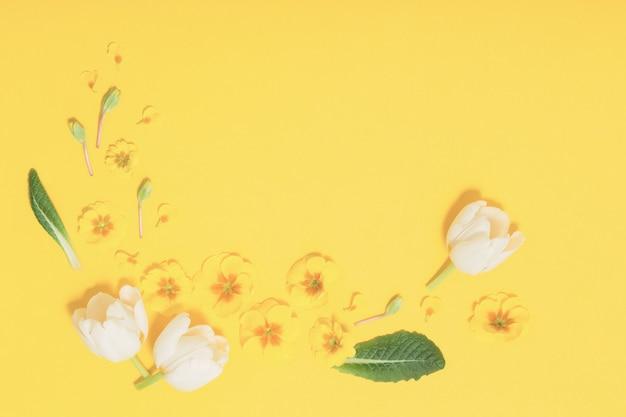 Lentebloemen op geel