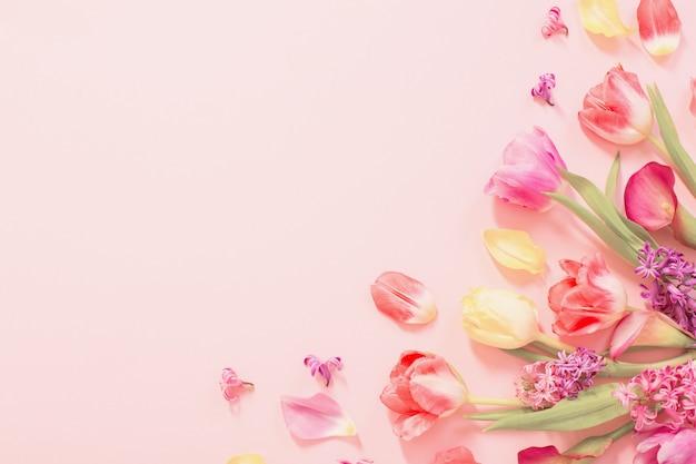 Lentebloemen op roze oppervlak