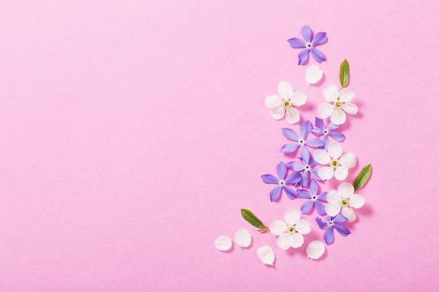 Lentebloemen op roze tafel