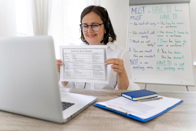Leraar doet haar engelse les met een whiteboard