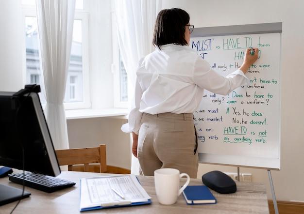 Leraar engels doet haar les met een whiteboard