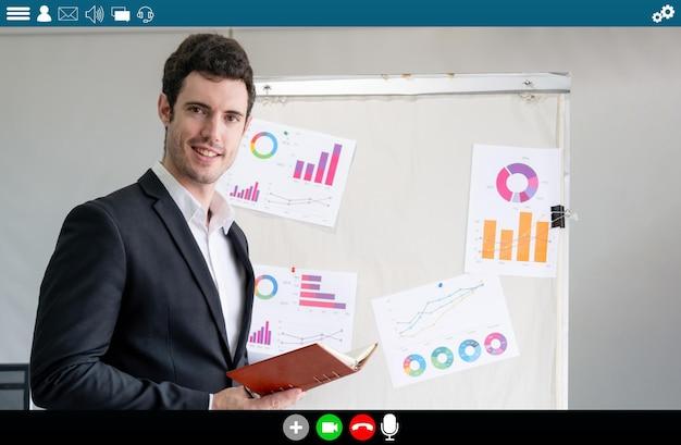 Leraar geeft les over e-learning en online onderwijs-app voor studenten op afstand