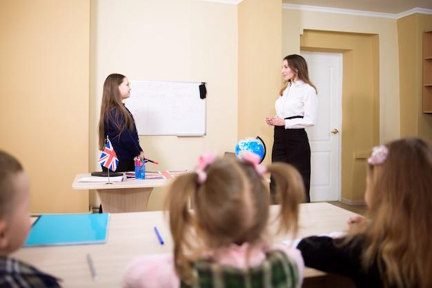 Leraar lesgeven aan basisschoolleerlingen.
