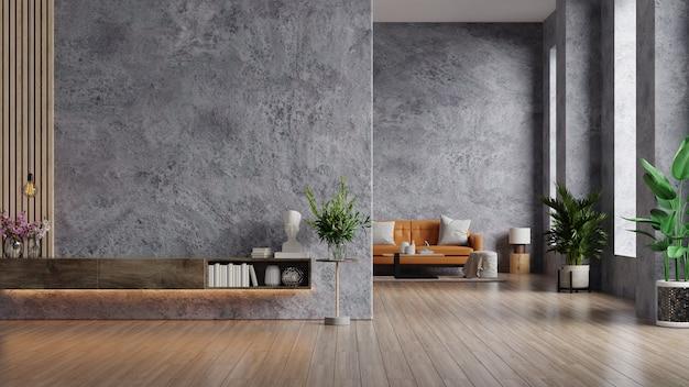 Leren bank en een houten tafel in het interieur van de woonkamer met plant, betonnen wand voor tv. 3d-weergave