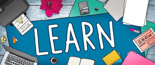 Leren leren kennis onderwijs college concept