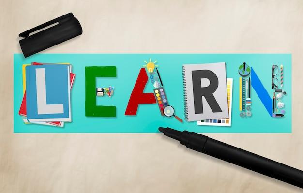 Leren leren onderwijs studeren concept