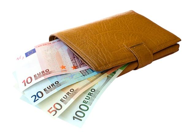 Leren portemonnee met eurobankbiljetten