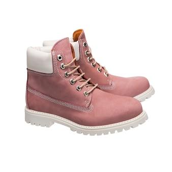 Leren schoenen met veters voor dagelijks gebruik, geïsoleerde kledingaccessoires op een wit oppervlak