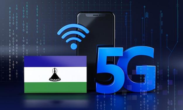 Lesotho klaar voor 5g-verbindingsconcept. 3d-rendering smartphone technische achtergrond