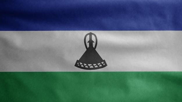 Lesotho vlag zwaaien in de wind. close up van sesotho banner waait, zacht en glad zijde. doek stof textuur vlag achtergrond. gebruik het voor het concept van nationale dag en landgelegenheden.