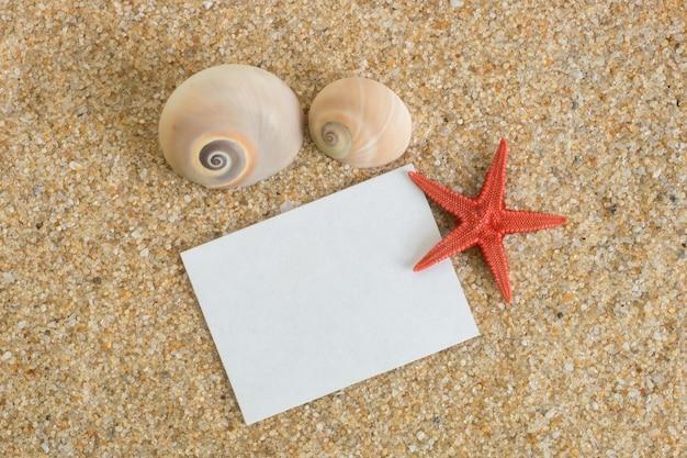Let op in het zand met schelpen