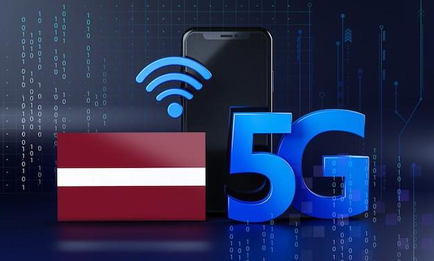 Letland klaar voor 5g-verbindingsconcept. 3d-rendering smartphone technische achtergrond
