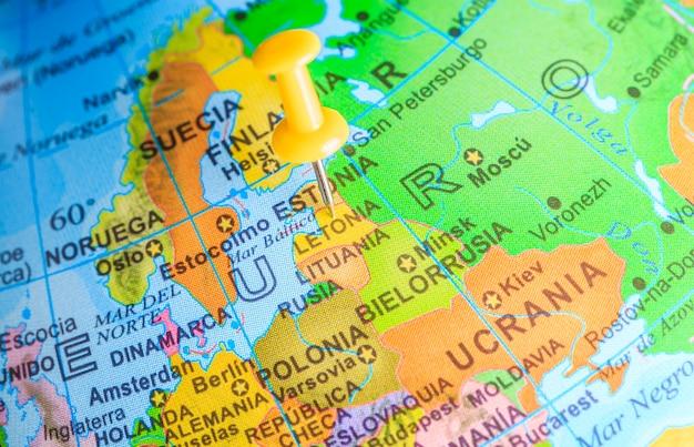 Letonia vastgemaakt op een kaart van europa