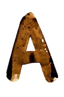 Letter a - alfabet in koffie