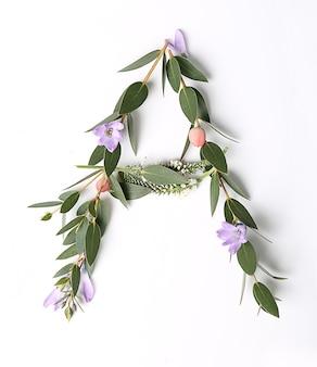 Letter a gemaakt van bloemen en kruiden op witte achtergrond