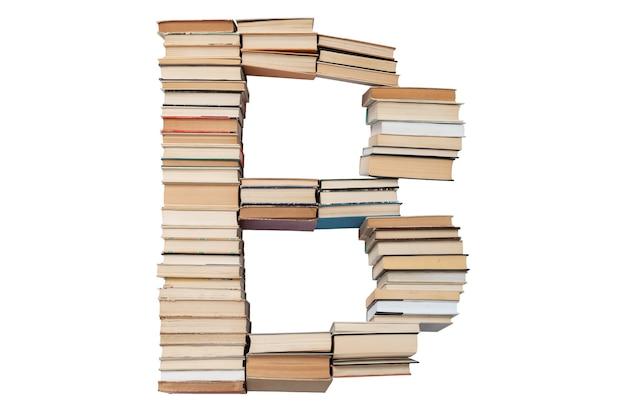 Letter b gemaakt van boeken geïsoleerd op wit. boek lettertype mockup uit het alfabet