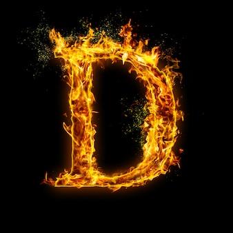 Letter d. brand vlammen op zwart