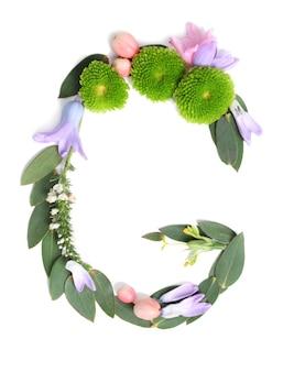 Letter g gemaakt van bloemen en kruiden op witte achtergrond