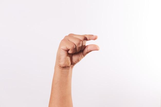 Letter g van het alfabet van gebarentaal geïsoleerd
