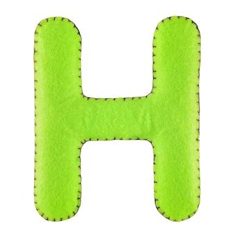 Letter h van vilt geïsoleerd op wit