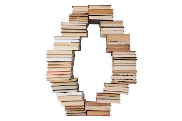 Letter o gemaakt van boeken geïsoleerd op wit