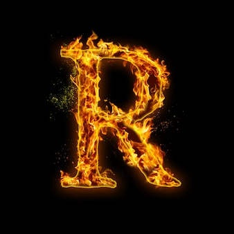 Letter r. fire vlammen op zwart, realistisch vuureffect met vonken.