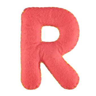 Letter r van vilt geïsoleerd op wit