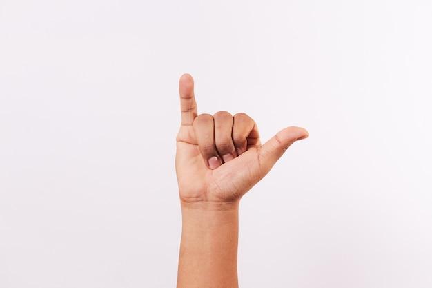 Letter y van het alfabet van geïsoleerde gebarentaal