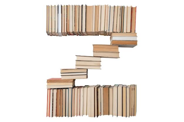 Letter z gemaakt van boeken geïsoleerd op wit