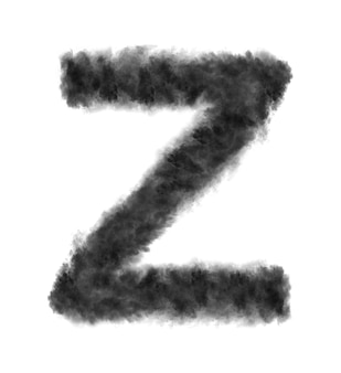 Letter z gemaakt van zwarte wolken of rook op een wit met kopie ruimte, niet renderen.