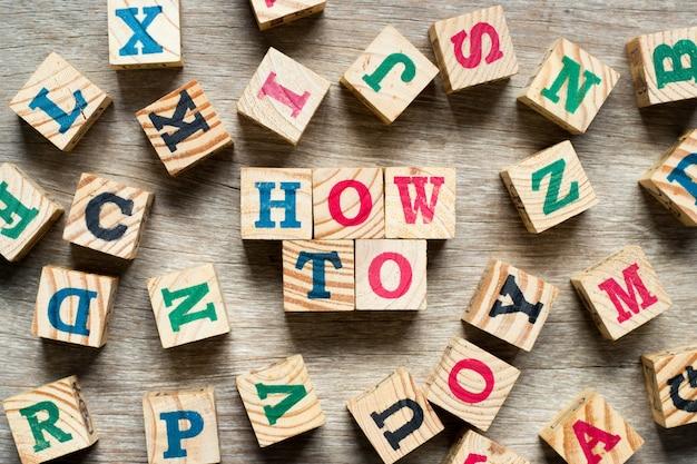 Letterblok in woord hoe met een ander alfabet